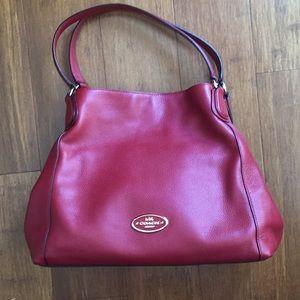 Coach Red Pebble Leather Edie Shoulder Bag